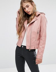 Mango Leather Look Biker Jacket Blush Pink