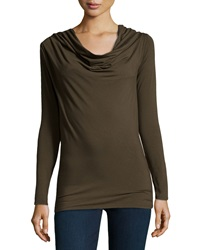Donna Karan Cowl Neck Long Sleeve Top Medium