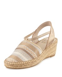 Andre Assous Helena Striped Espadrille Wedge Sandal Gold