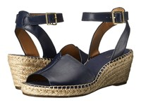 Clarks Petrina Selma Navy Leather Women's Wedge Shoes Blue