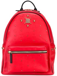 Mcm Gold Tone Studded Backpack Red