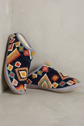 Anthropologie Embroidered Caro Slippers Blue