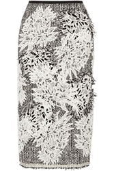 Erdem Safia Tweed And Guipure Lace Midi Skirt