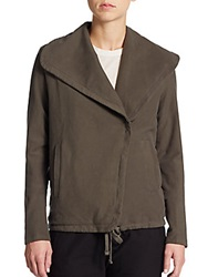 James Perse Cotton Twill Moto Jacket Fir