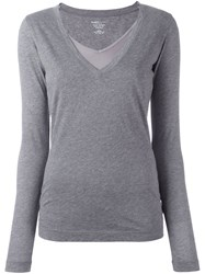 Majestic Filatures Layered V Neck Jumper Grey