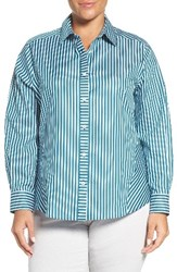 Foxcroft Plus Size Women's No Iron Sateen Stripe Shirt