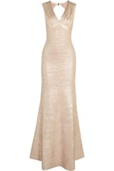 Herve Leger Metallic Cutout Coated Bandage Gown Rose Gold