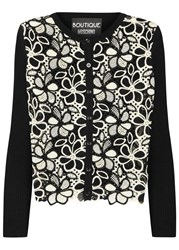 Boutique Moschino Black Crochet Front Ribbed Cardigan Black And White