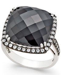 Macy's Onyx 15X15mm And Swarovski Zirconia Large Fashion Ring In Sterling Silver