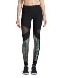 X By Gottex Mesh Inset Paneled Performance Legging Black Brown