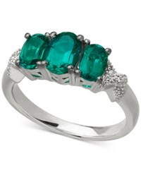 Macy's Emerald 1 3 4 Ct. T.W. And Diamond Accent Three Stone Ring In Sterling Silver