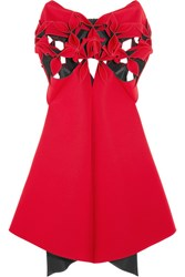 Junya Watanabe Asymmetric Cutout Neoprene Dress Crimson