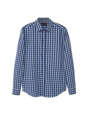 Mango Slim Fit Gingham Check Shirt Navy