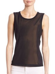 Saks Fifth Avenue Slim Fit Power Mesh Sleeveless Blouse Black