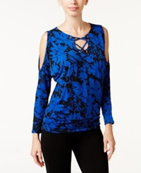 Thalia Sodi Printed Dolman Sleeve Lace Up Top Only At Macy's Deep Black Blue Floral