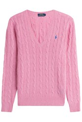 Polo Ralph Lauren Cable Knit Wool Pullover With Cashmere Pink