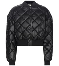 Stella Mccartney Nathalie Faux Leather Bomber Jacket Black