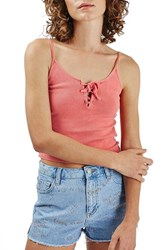 Topshop Women's Lace Up Ribbed Camisole Coral