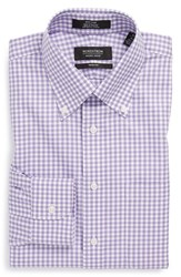 Men's Big And Tall Nordstrom Non Iron Trim Fit Gingham Dress Shirt Purple Violet