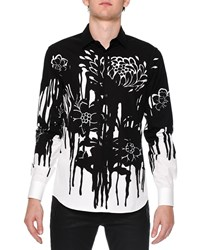 Alexander Mcqueen Dripping Flower Print Woven Shirt Black White