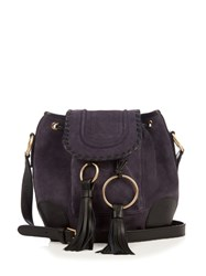 See By Chloe Polly Suede Cross Body Bucket Bag Navy