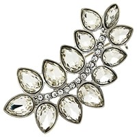Monet Glass Crystal Leaf Brooch Silver