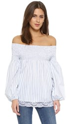 Mlm Label Ruched Striped Top Blue Stripe