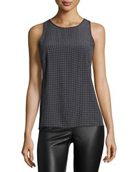 Halston Round Neck Embellished Tank Top Charcoal Grey Women's