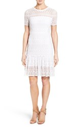 Elie Tahari Women's 'Jacey' Crochet Lace A Line Dress Optic White
