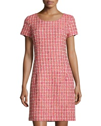 Oscar De La Renta Tweed Cap Sleeve Sheath Dress Ruby