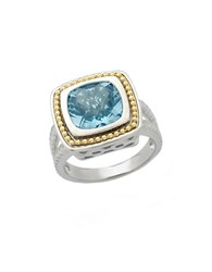 Lord And Taylor Sterling Silver 14Kt. Yellow Gold Sky Blue Topaz Ring Blue Topaz Silver