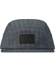 Mister Indigo Denim Camp Cap With Leather Patch