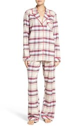 Nordstrom Women's Lingerie Flannel Pajamas Pink Creole Preppy Plaid