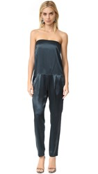 Michelle Mason Strapless Jumpsuit Carbon