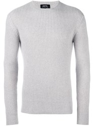 A.P.C. Crew Neck Ribbed Pullover Grey