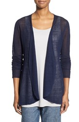 Women's Eileen Fisher Hemp Blend Curved Hem Cardigan Midnight