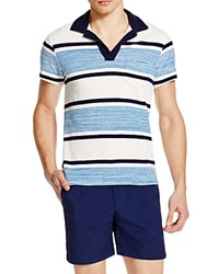 Orlebar Brown Terry Melange Stripe Regular Fit Polo Shirt Butterfly Blue
