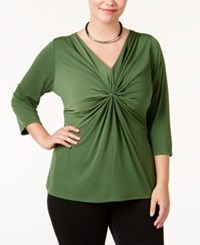 Ny Collection Plus Size B Slim Three Quarter Sleeve Top Tortoise Green