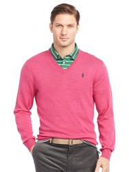 Ralph Lauren Polo Golf By Long Sleeve V Neck Jumper Preppy Pink Heather