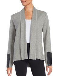 Karl Lagerfeld Faux Leather Accented Cardigan Light Grey Heather