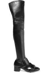 N 21 No. Knotted Stretch Leather Over The Knee Boots Black