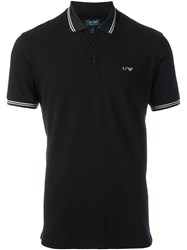 Armani Jeans Striped Trim Polo Shirt Black