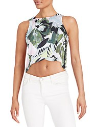 Romeo And Juliet Couture Printed Crop Top Olive Floral