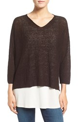 Eileen Fisher Women's Lightweight Organic Linen Knit V Neck Top Clove