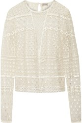 Temperley London Embellished Embroidered Tulle Top White