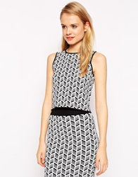 Asos Co Ord Structured Knit Sleeveless Top In Mono Pattern