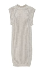 I Love Mr. Mittens Sleeveless Knit Rib Dress Light Grey