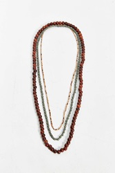 Urban Outfitters Long Wood Bead Necklace Set Brown Multi