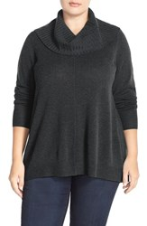 Plus Size Women's Sejour Cowl Neck Wool And Cashmere Sweater Grey Dark Charcoal Heather