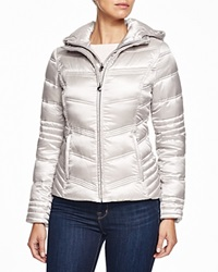 Laundry By Shelli Segal Hooded Quilted Puffer Jacket Pewter